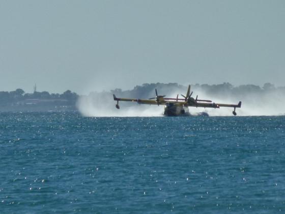 Löschflugzeug beim Wasser aufnehmen